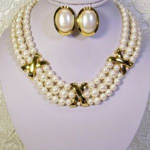 R-1710 3-Strand Golden Glass Pearl Collar Earring